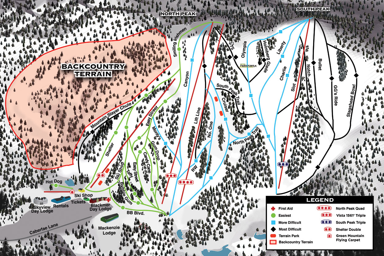 Caberfae Peaks Ski Golf Resort Trail Map - Us-snow-belt-map